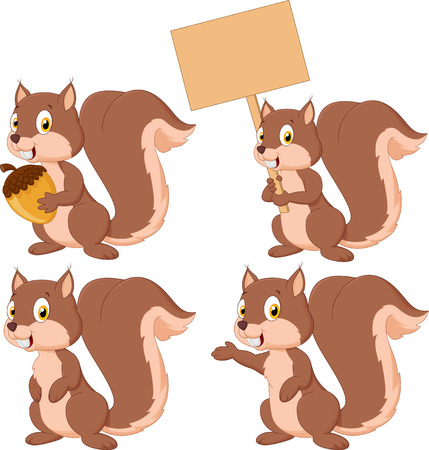 Cute cartoon squirrel collection set Vector