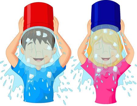 seau d eau: Cartoon défi Seau à glace Illustration