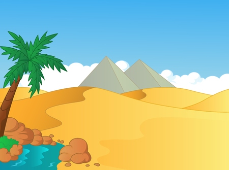pyramid of the sun: Cartoon small oasis in the desert Illustration