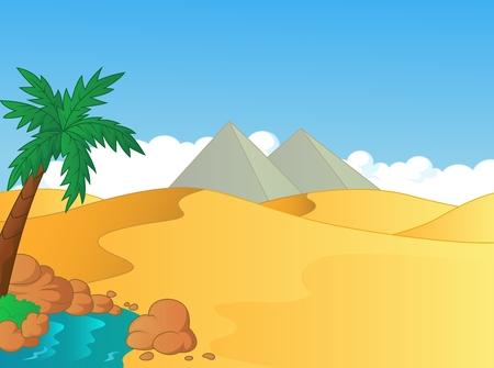 sahara desert: Cartoon small oasis in the desert Illustration