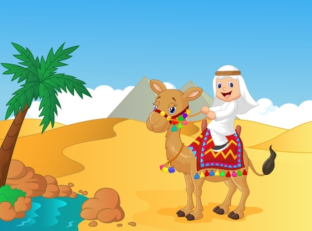 Arab boy cartoon riding camel Vector