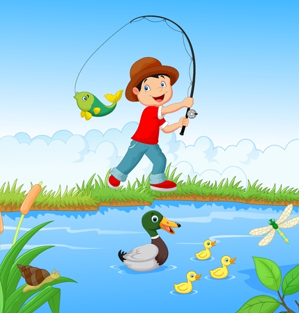 pato caricatura: La pesca de la historieta del niño pequeño Vectores