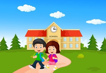 Jongen en meisje met rugzakken cartoon