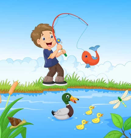 fishing scene: Little boy cartoon fishing
