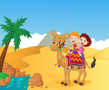 desert landscape: Happy kids cartoon riding camel Illustration