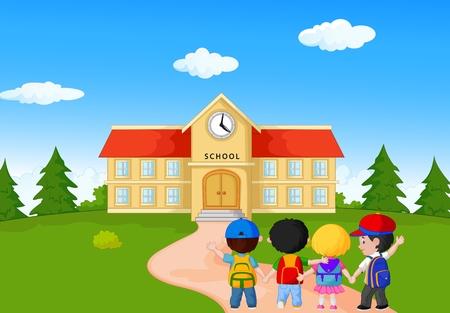 Niños pequeños dibujos animados feliz caminando juntos a la escuela