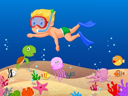 Little boy cartoon diving in the ocean