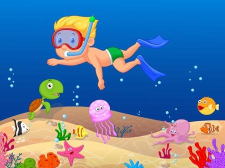 Little boy cartoon diving in the ocean Vector