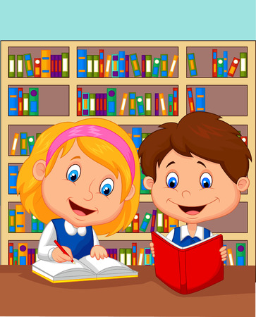 children story: Cartoon Boy and girl study together
