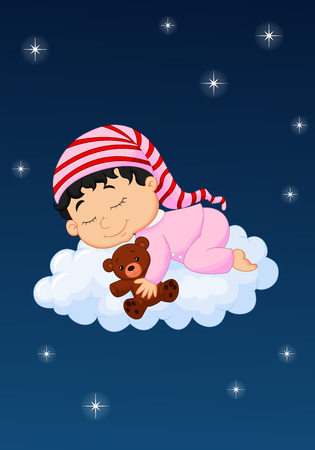 Baby cartoon sleepping on the cloud Vector