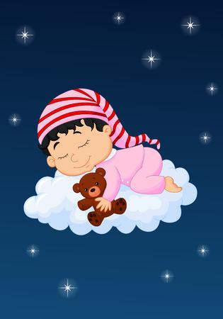 Baby cartoon sleepping on the cloud Vector