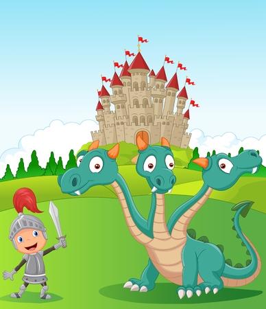 Cartoon knight with three headed dragon Vector
