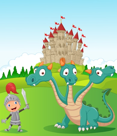 three headed: Cartoon knight with three headed dragon Illustration