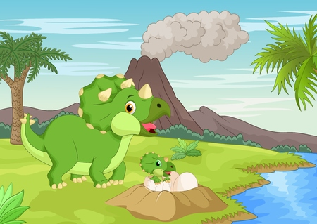 cartoon volcano: Cartoon Mother triceratops with baby hatching Illustration