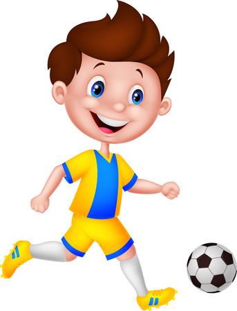 enfant qui joue: Cartoon garçon jouant au football Illustration