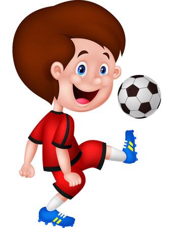 boy ball: Cartoon boy playing football