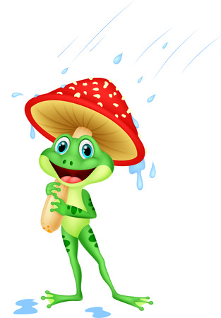 sotto la pioggia: Carino rana del fumetto che porta pioggia attrezzi sotto il fungo