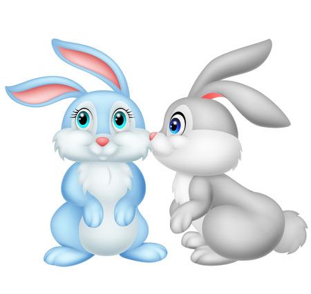 Lindo conejo de dibujos animados besos Foto de archivo - 33367178