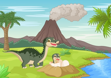 cartoon volcano: Cartoon Mother dinosaur with baby hatching