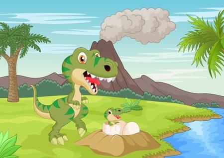 Cartoon Mother tyrannosaurus with baby hatching Vector