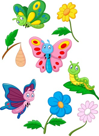 cartoon mascot: Cartoon butterfly, caterpillar and cocoon