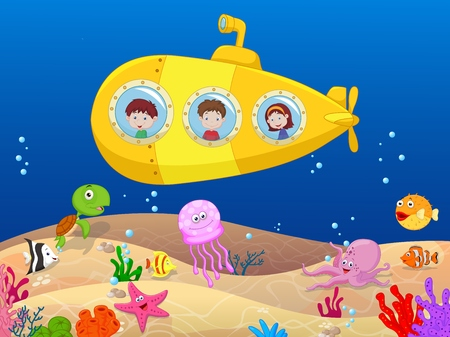 deep sea: Happy kids cartoon in submarine