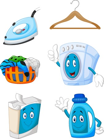 laundry machine: Happy cartoon laundry Illustration
