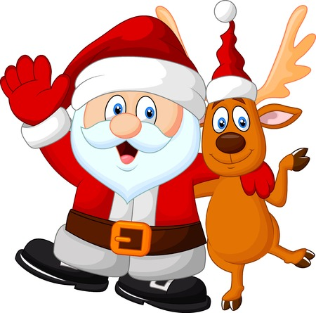 Happy cartoon Santa and deer Vector