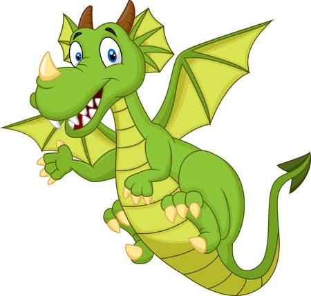 smile happy: Cute cartoon dragon