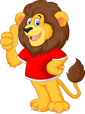 hand showing thumbs up: Cute cartoon lion giving thumb up Illustration