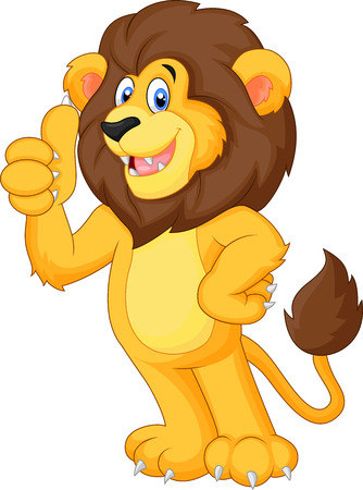 Cute cartoon lion giving thumb up Stock Illustratie