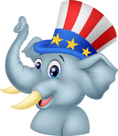 Republican Elephant Cartoon Character Vector