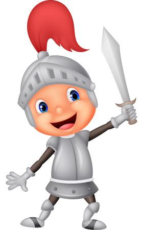cascos romanos: Chico Caballero de dibujos animados Vectores