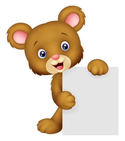 Funny bear cartoon holding blank sign Vector