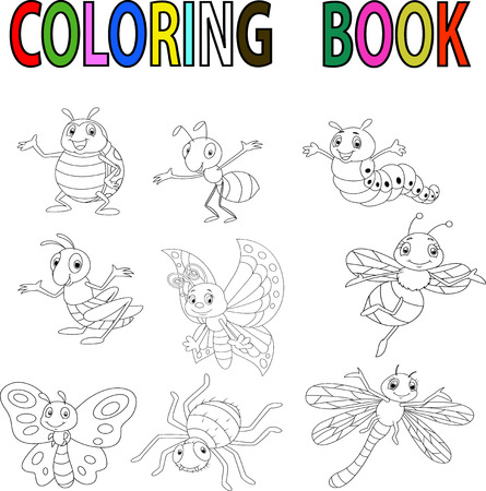 books isolated: Funny cartoon insect coloring book