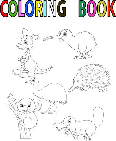 wombat: Cartoon Australia libro para colorear animales