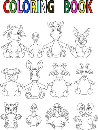 Farm animal cartoon coloring book Vector