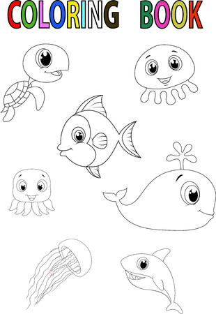 sealife: Cartoon fish coloring book