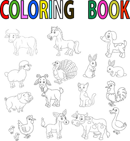 farm animal: Farm animal cartoon coloring book