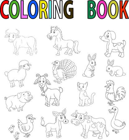 Farm animal cartoon coloring book