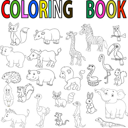 Wild animal cartoon coloring book Vettoriali