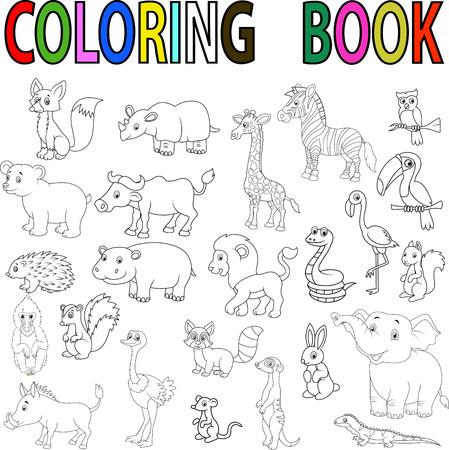 Wild animal cartoon coloring book Stock Illustratie