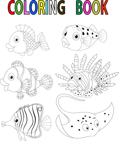 outline drawing of fish: Cartoon fish coloring book
