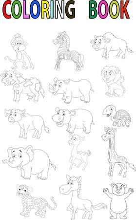 Wild animal cartoon coloring book Vector