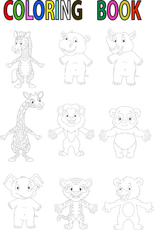 Wild animal cartoon coloring book Vector