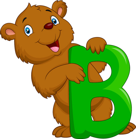 Alphabet B with bear cartoon Vector