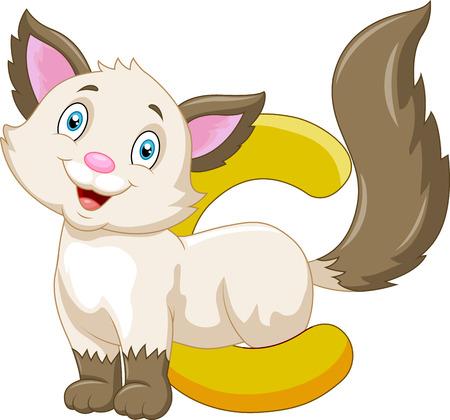 Alphabet C with Cat cartoon