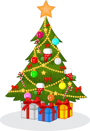 pine decoration: Decorated Christmas tree cartoon