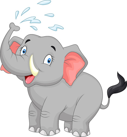 elephant nose: Cartoon elephant spraying water Illustration