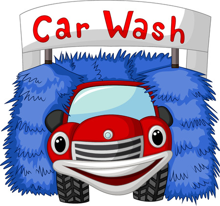 dirty car: Automatic car wash cartoon Illustration